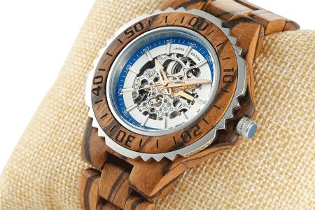 Men's Genuine Automatic Zebra Wooden Watches No Battery Needed