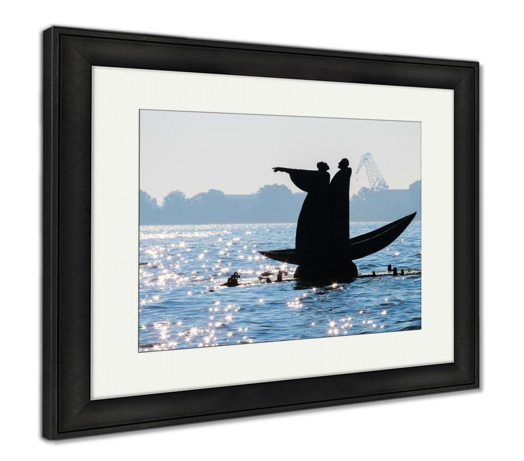 Monument To Dante And Virgil In The Venice Lagoon - Framed Wall Art