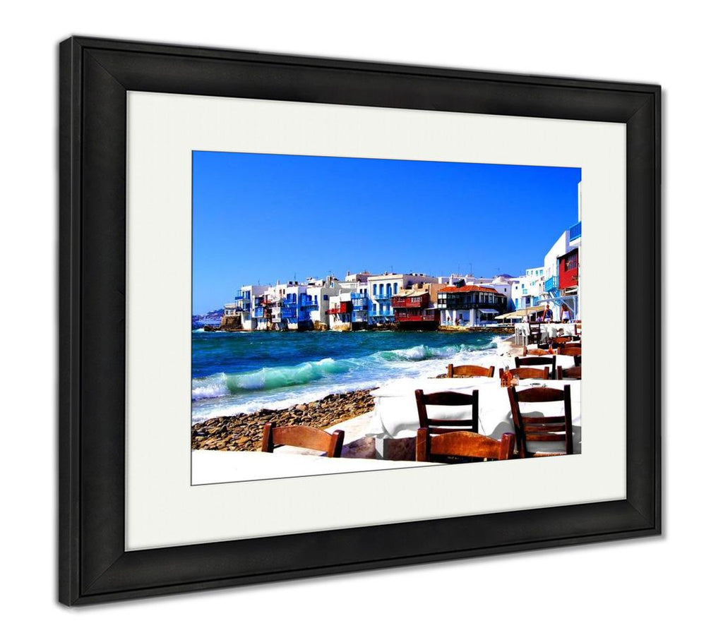 Crashing Waves of Mykonos Greece - Framed Wall Art