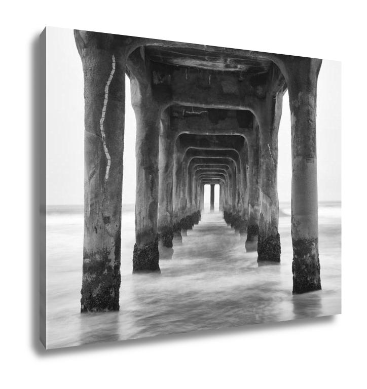 Under The Pier Manhattan Beach, California - Canvas Wall Art