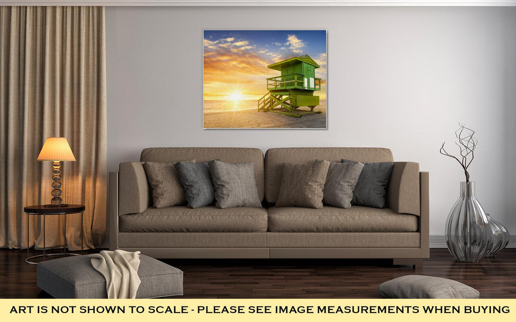 Miami, South Beach At Sunrise - Canvas Wall Art