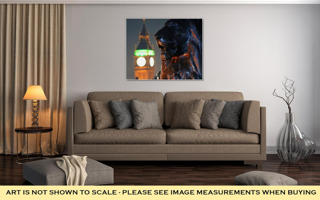 Trafalgar Square Lion Statue And Big Ben, London - Canvas Wall Art