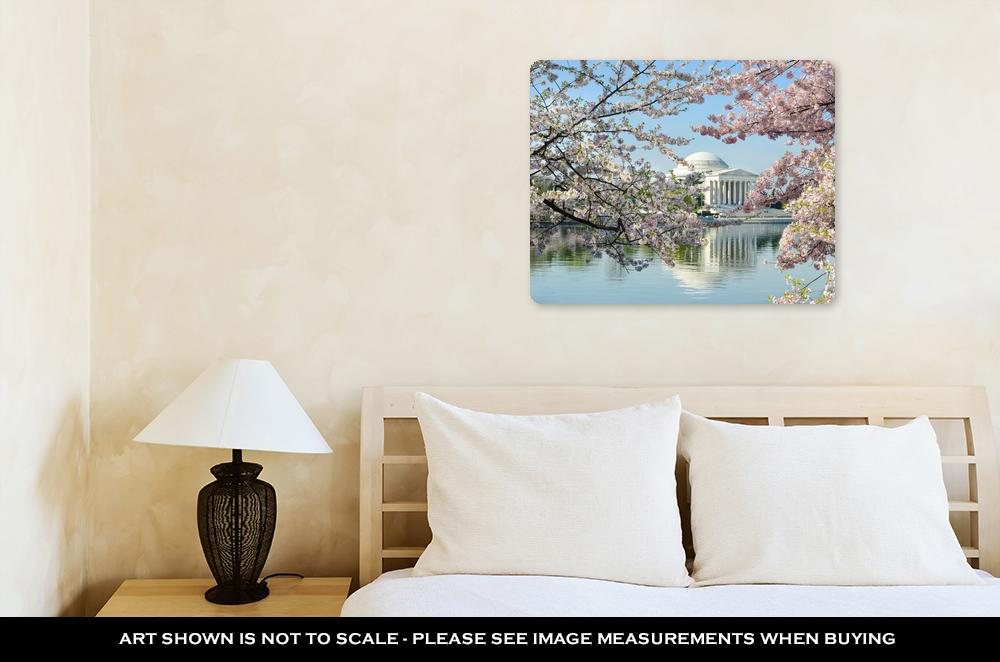 Cherry Blossoms Over Jefferson Memorial - Metal Panel Wall Art