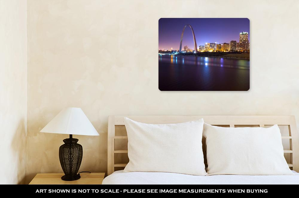 St. Louis Skyline in The Night - Metal Panel Wall Art