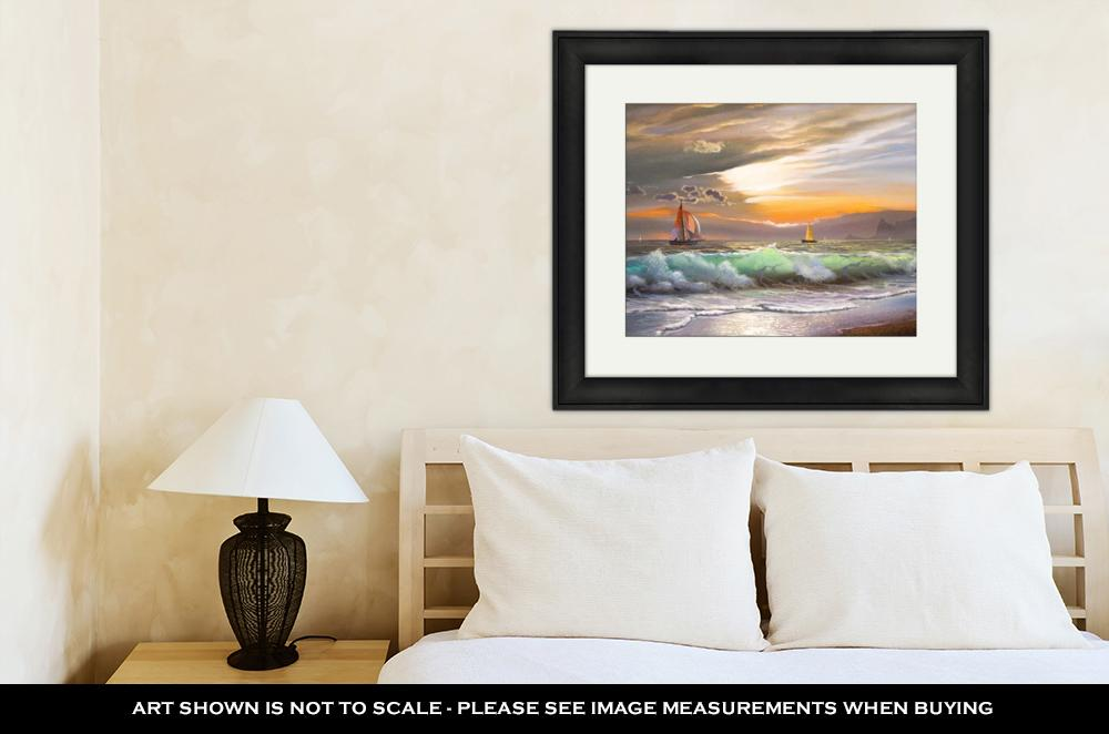 Sailboat Against the Sea - Framed Wall Art