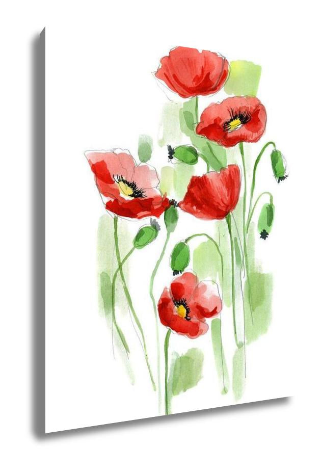 Watercolor Poppies - Canvas Wall Art