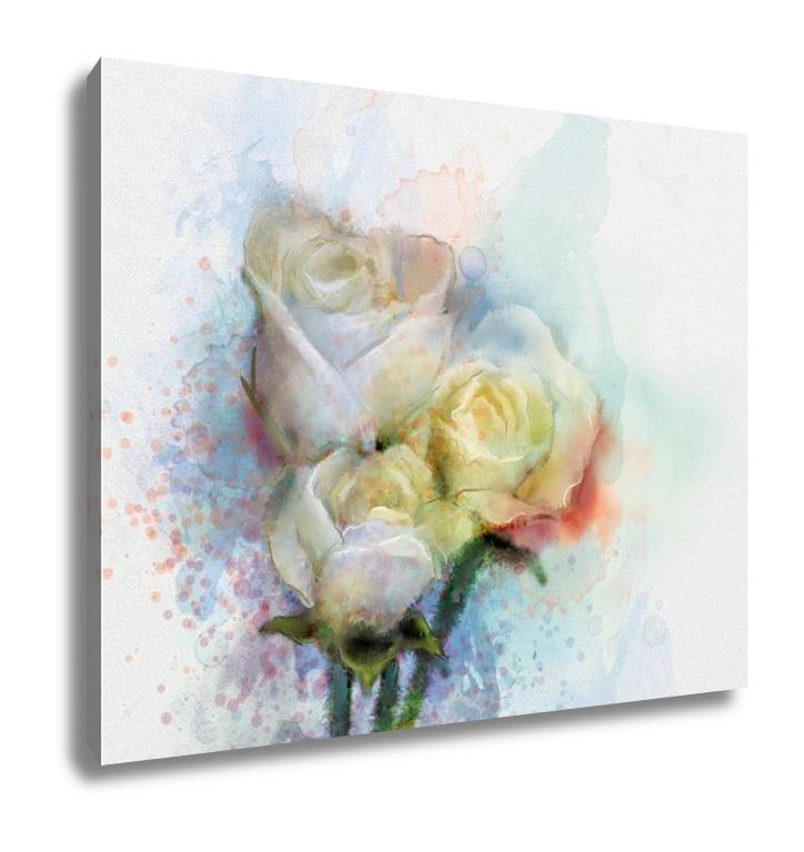 Pastel White Roses - Canvas Wall Art