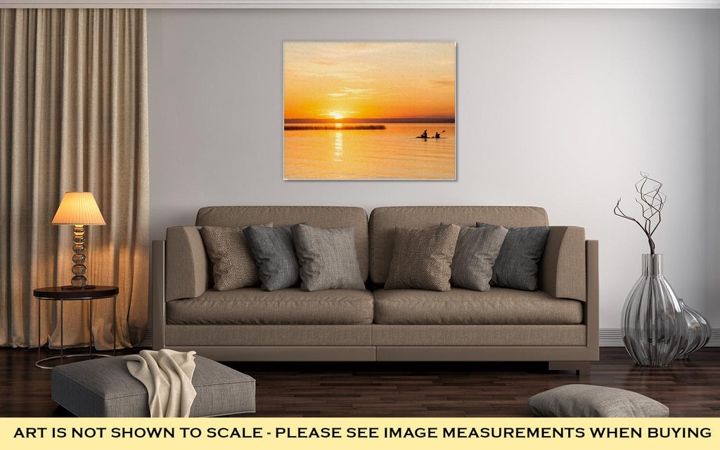 Canoes in the Sunset - Canvas Wall Art