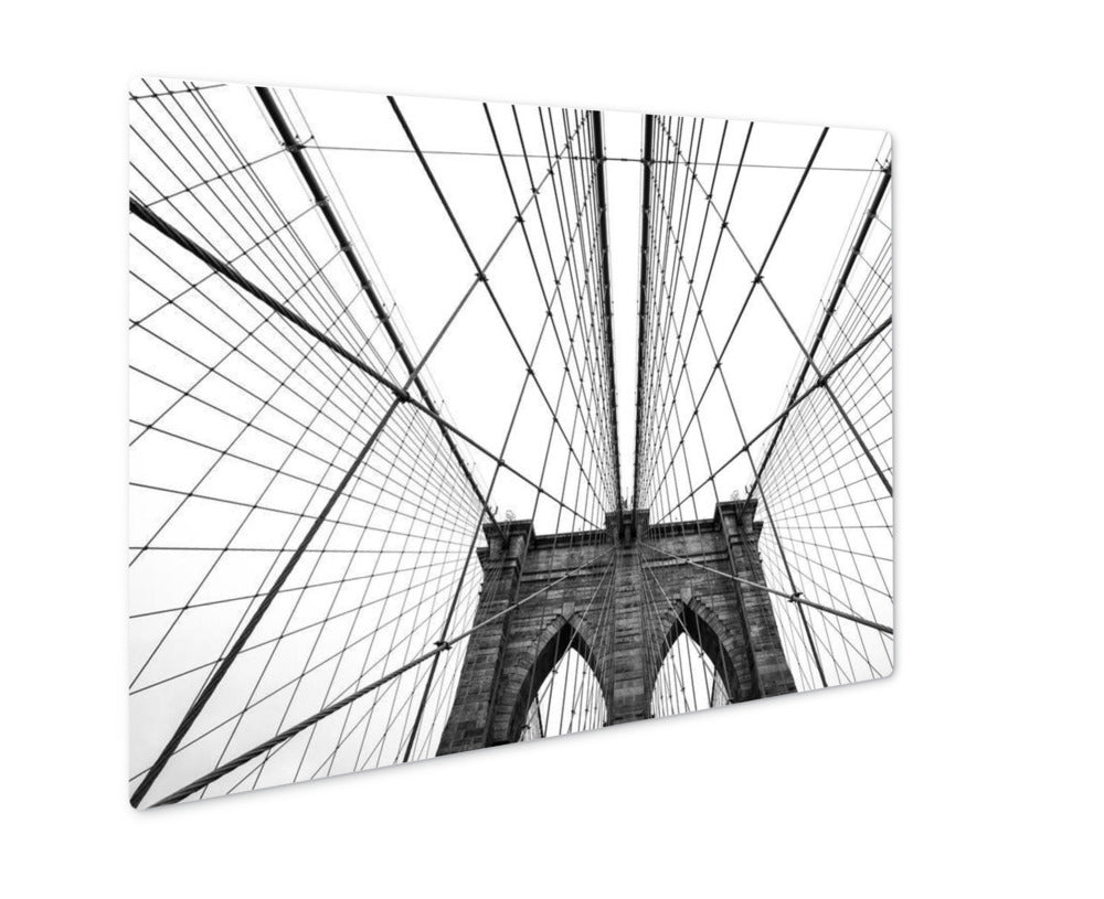 Under the Brooklyn Bridge Cables - Metal Panel Wall Art