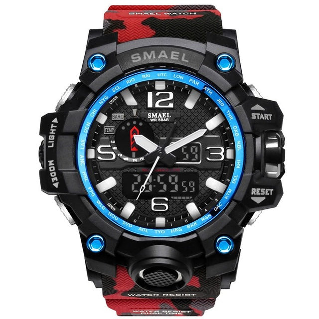 Waterproof Military Watch, Dual Display Analog and Digital LED display