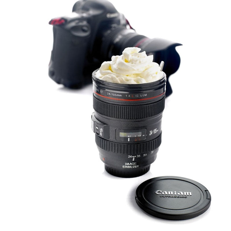 Camera Lens looking Coffee Mug/ Beer Mug / Wine mug With Lid (Black Plastic Cup)