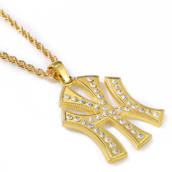 Iced Out 18K Gold/Silver New York Pendant
