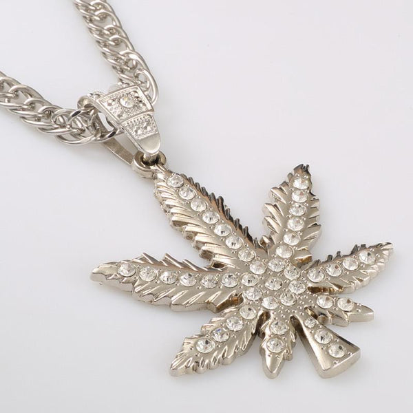 Iced Out 18K Gold/Silver Cannabis Leaf Pendant