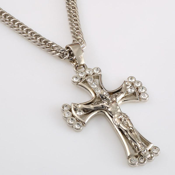 Iced Out 18K Gold/Silver Cross Pendant