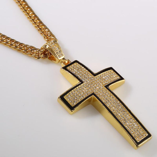 Iced Out Four Rows 18K Large Gold/Silver Cross Pendant