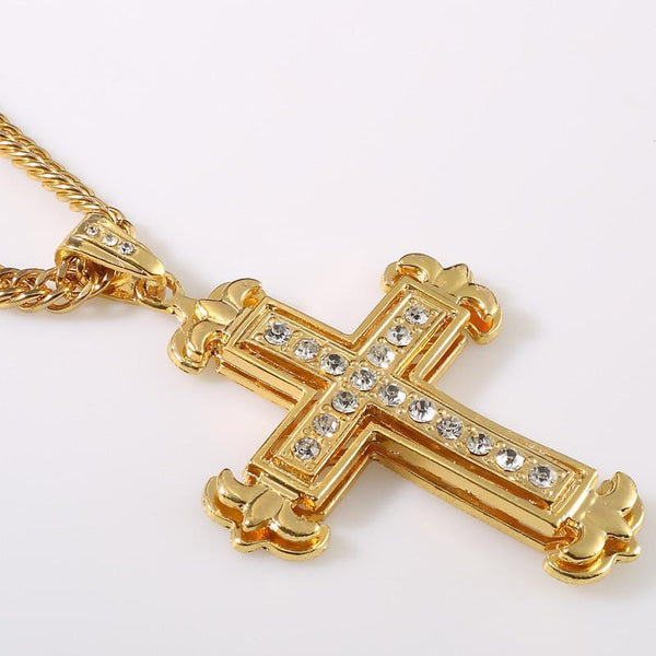 Iced Out 18K Gold/Silver Fleur-de-lis Cross Pendant