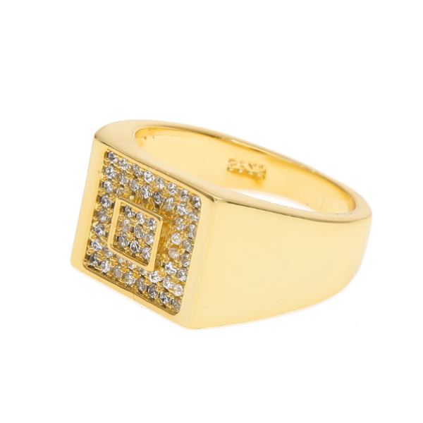 Iced Out 18K Gold Square Ring