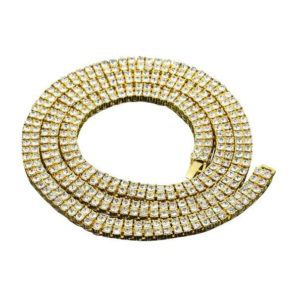 Iced Out Double Row 10mm 18K Gold/Silver Tennis Chain