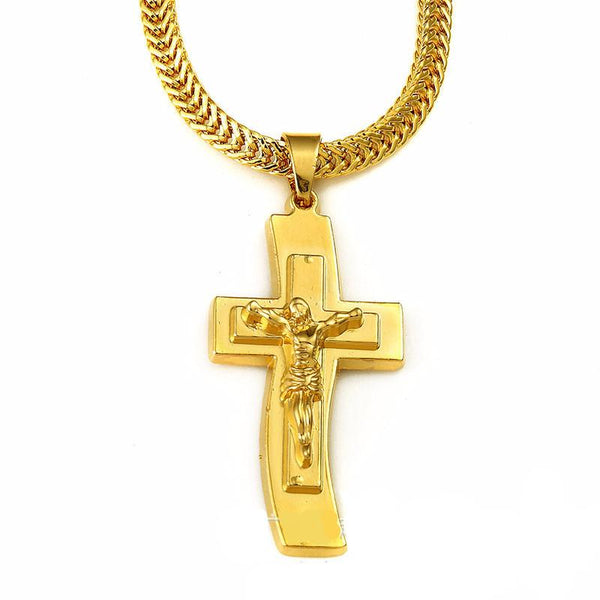 18K Gold Curvy Cross Pendant