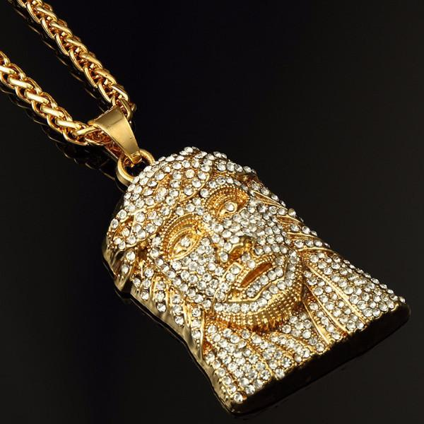 Classic Fully Iced Out 18K Gold Jesus Piece Pendant