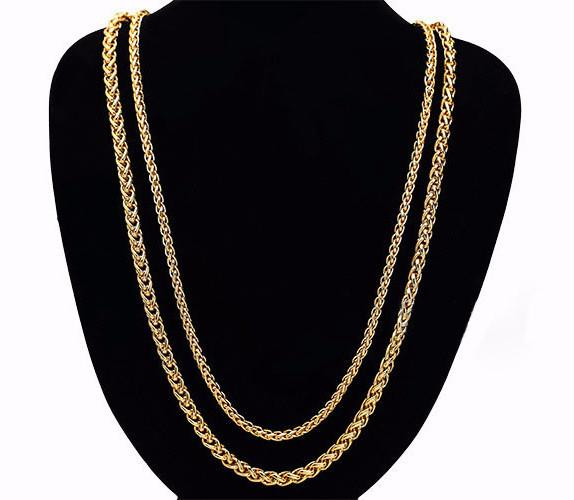 5-7mm 18K Gold Wheat Chain