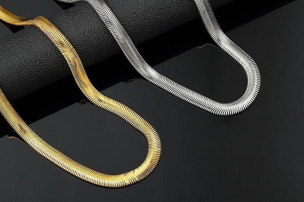 8mm 18K Gold/Silver Herringbone Chain