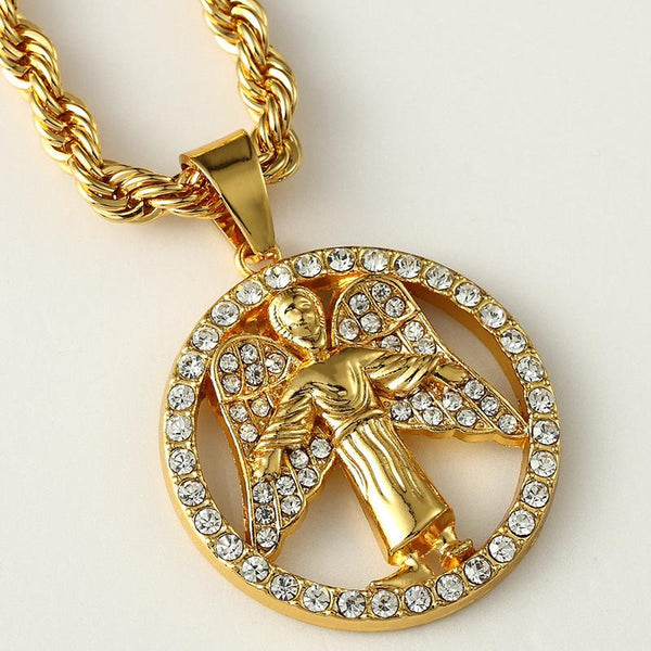 Iced Out 18K Gold Angel Medallion Pendant