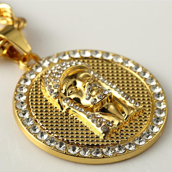 Iced Out 18K Gold Jesus Piece Medallion Pendant