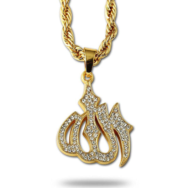 Iced Out 18K Gold Allah Pendant