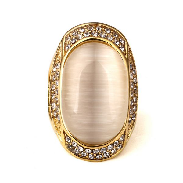 Iced Out 18K Gold White Gem Ring