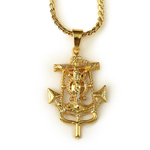 Exclusive 18K Gold Anchor Cross Pendant