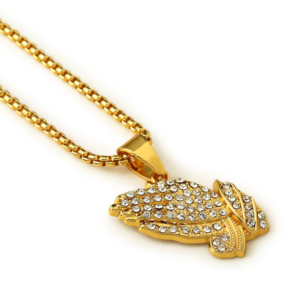 Iced Out 18K Gold Praying Hands Pendant