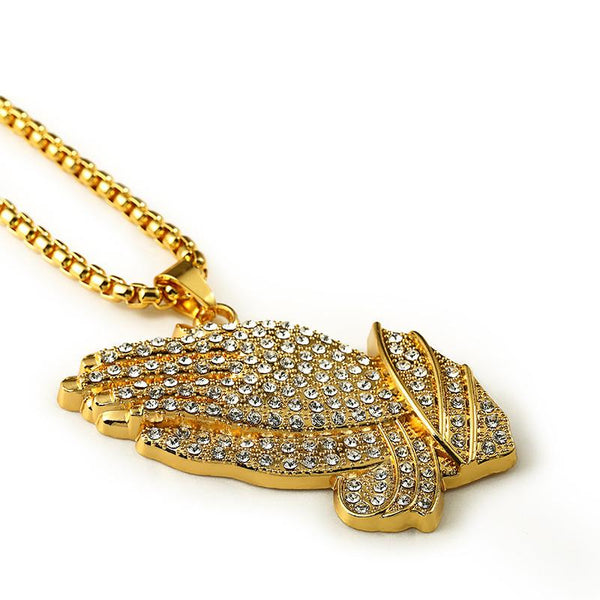 XL Iced Out 18K Gold Praying Hands Pendant