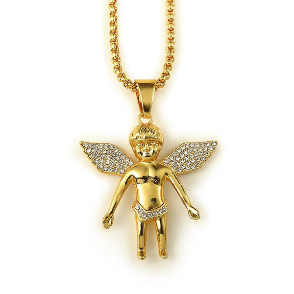 Large Iced Out 18K Gold Baby Angel Pendant