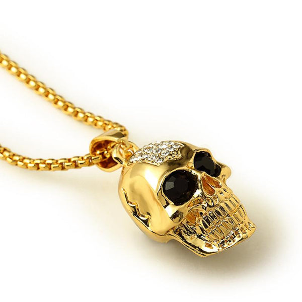 Iced Out 18K Gold Calavera Skull Pendant