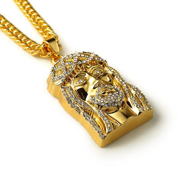 Iced Out Savior 18K Gold Jesus Piece Pendant