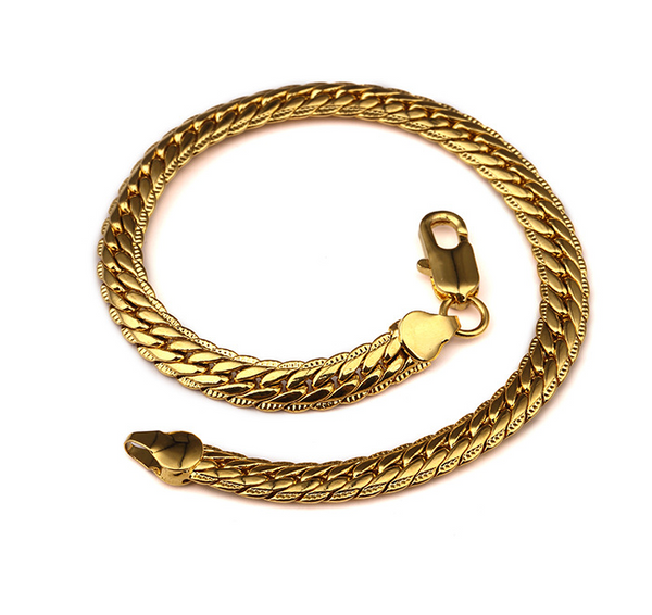6mm 18K Gold/Silver Herringbone Bracelet