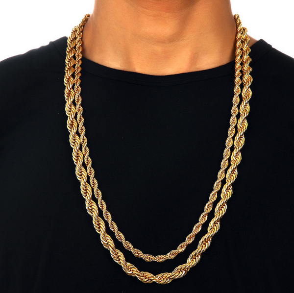 6-9mm 18K Gold French Rope Chain