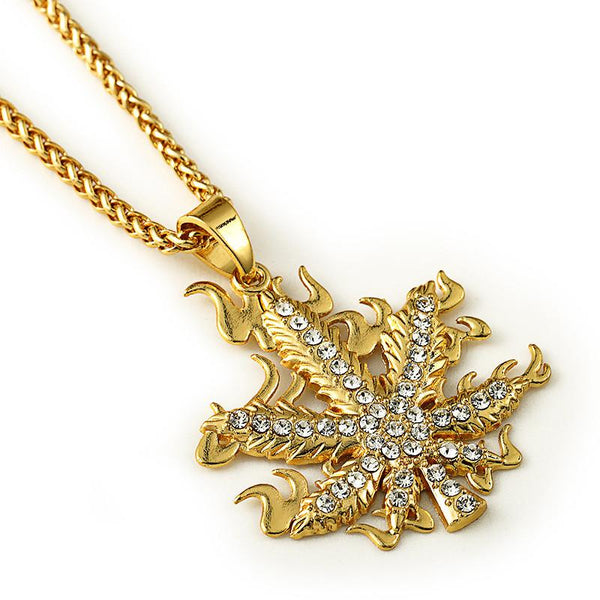 Iced Out 18K Gold Flaming Cannabis Leaf Pendant