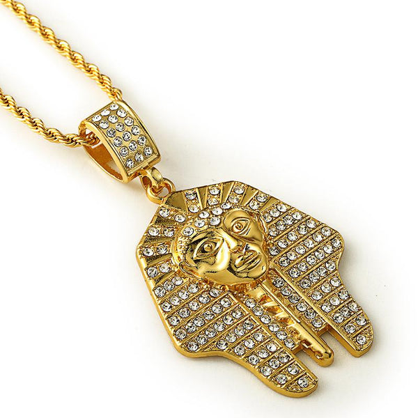 Iced Out 18K Gold Flat Pharaoh Pendant