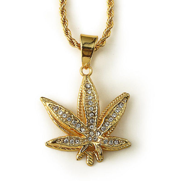 Iced Out 3D 18K Gold Cannabis Leaf Pendant