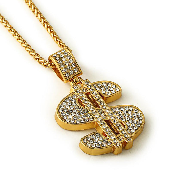 Large Fully Iced Out 18K Gold Dollar Sign Pendant