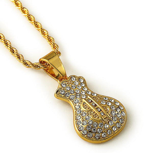 Fully Iced Out 18K Gold Money Bag Pendant
