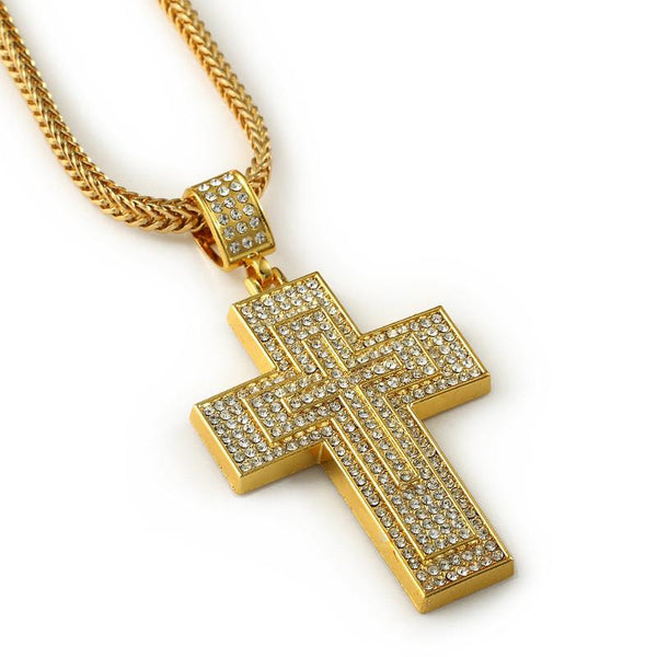 Seven Rows Fully Iced Out 18K Gold Cross Pendant