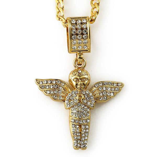 Fully Iced Out 18K Gold Praying Angel Pendant