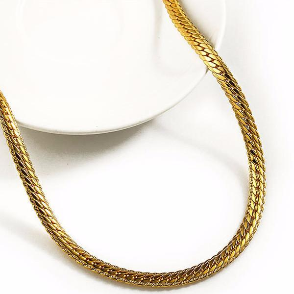 7-9mm 18K Gold Herringbone Chain