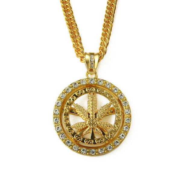 Iced Out 18K Gold/Silver Cannabis Leaf Medallion Pendant