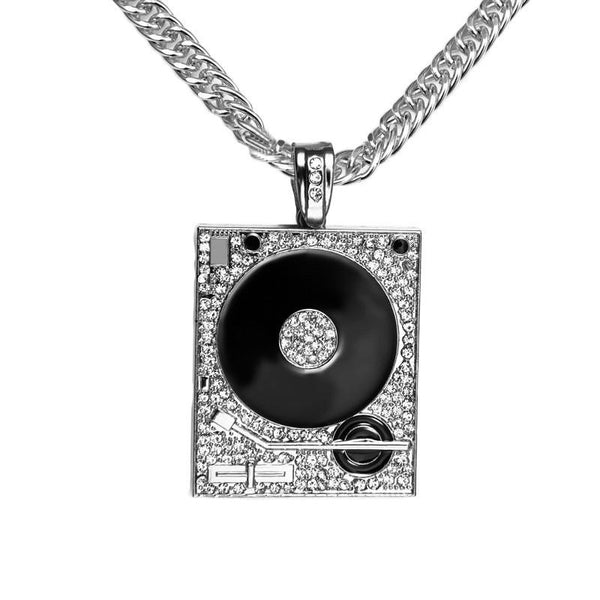 Iced Out 18K Gold/Silver DJ Turntable Pendant