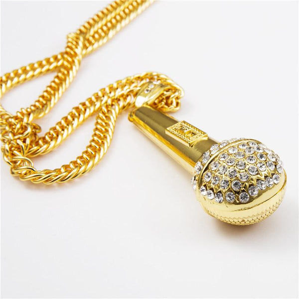 Iced Out 18K Gold/Silver Microphone Pendant