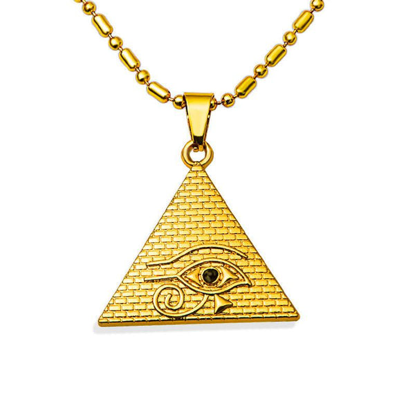 Egyptian 18K Gold Pyramid Eye Pendant